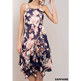 Floral Sharkbite Midi Dress