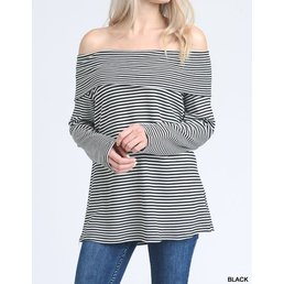 Long Sleeve Striped Off The Shoulder Top