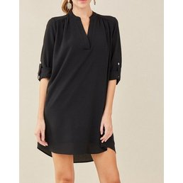 Solid V Neck T Shirt Dress W/ Permanent Button Closures On Sleeves