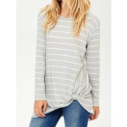 Long Sleeve Striped Top W/ Twist Bottom Detail