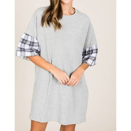 Checkered Contrast Angel Sleeve Dress