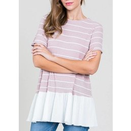 Short Sleeve Striped Top W/ Ruffle Bottom
