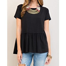 Solid Scoop Neck Top W/ Peplum Hem
