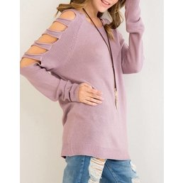 Tunic Sweater W/ Cut Out Sleeve Detail
