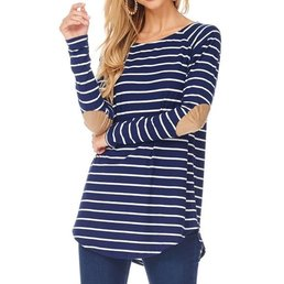 Long Sleeve Raglan Striped Top W/ Faux Suede Elbow Patches