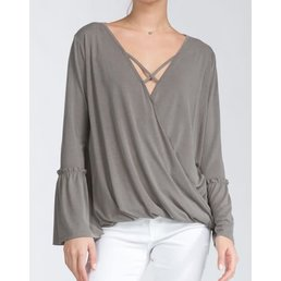 Long Sleeve Scoop V Neck Loose Fit High Low Crossover Top