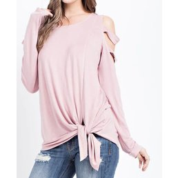 Bamboo Knit Cold Shoulder Top W/ Band Detail On Arms & Tied Hem