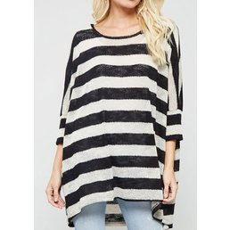 3/4 Dropped Sleeve Semi Sheer Striped Top