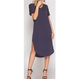 Drop Shoulder Cuffed Midi T-Shirt Modal Cupro Dress