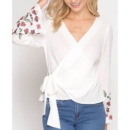 Long Bell Sleeve Wrap Top W/ Floral Embroidery