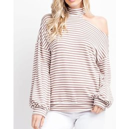 Striped French Terry Mock Neck Top W/ One Shoulder Cut Out & Puff Sleeves