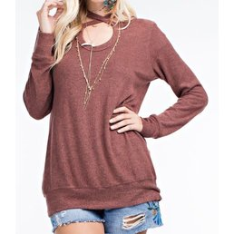 Long Sleeve Top W/ Cut Out Neckline & Criss Cross Detail