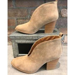 Pointed Toe Block Heel Slip On Booties