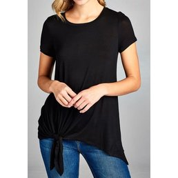 Short Sleeve Round Neck Top W/ Side Knot Top