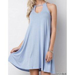 Bamboo Front Cutout Sleeveless Dress W/ Pockets