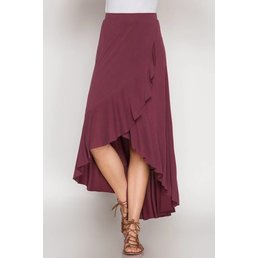Modal Cupro Hi-Low Ruffled Tulip Maxi Skirt