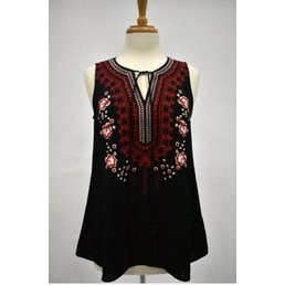 Sleeveless Top W/ Embroidery Detail & Front Tie