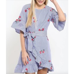 Ruffle Embroidered Dress W/ Waist Tie