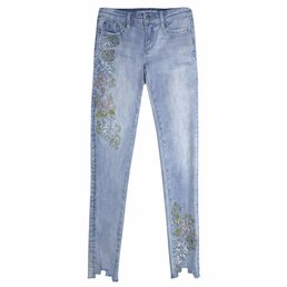 Floral Embroidered Light Wash Denim Jean with Raw Uneven Hem Detail
