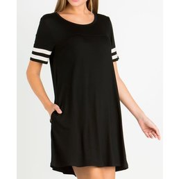 Short Sleeve Round Neck Knit Dress W/ Varsity Stripes & Side Seam Pockets