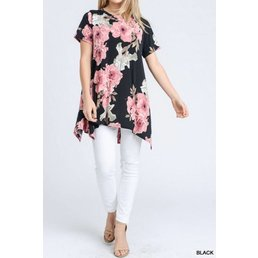 Short Sleeve Floral Top W/ Asymmetrical Hem