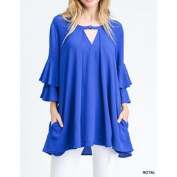 3/4 Layered Bell Sleeve Tunic W/ Button Keyhole & Pockets