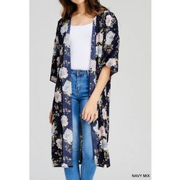 Floral Print Long Line Kimono