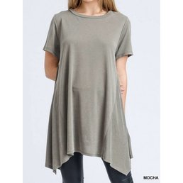 Short Sleeve Modal Cupro Top W/ Asymmetrical Hem