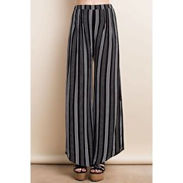 Side Slit Wide Leg Stripe Pants