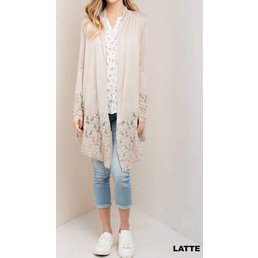 Long Sleeve Cardigan W/ Lace Contrast
