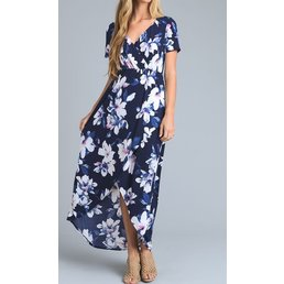 Short Sleeve V Neck Hi-Lo Large Bright Floral Print Dress
