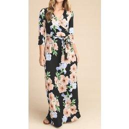 3/4 Sleeve Floral Print Wrap Maxi Dress