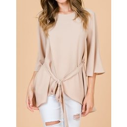 Bell Sleeve Top W/ Self Tie Belt