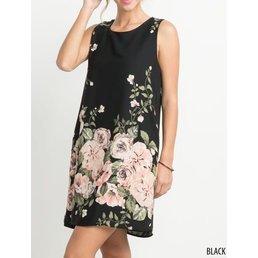 Floral Print Sleeveless Shift Dress W/ Pockets