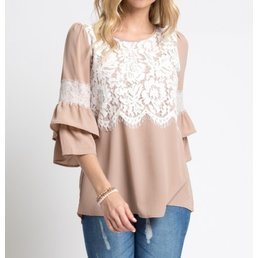 Tiered Ruffle Sleeve Top W/ Lace Detail