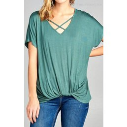 Short Sleeve V Neck  Cross Strap Top W/ Twisted Bottom