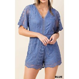 Short Sleeve Lace Romper