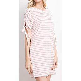 Stripe Tie Sleeve Pocket Dress