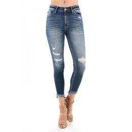 High Rise Long Fray Hem Skinny Jeans