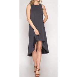 Sleeveless Hi-Lo Dress W/ Slit