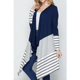 Color Block Cardigan W/ Waterfall Front Detail