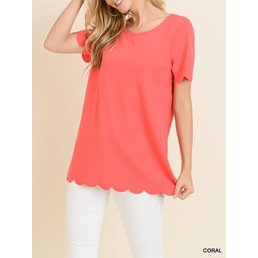 Short Sleeve Top W/ Scallop Details