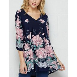 3/4 Button Tab Sleeve  Floral Top