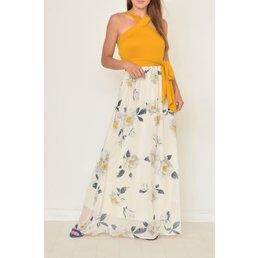 Cross Neck Sash Maxi Dress