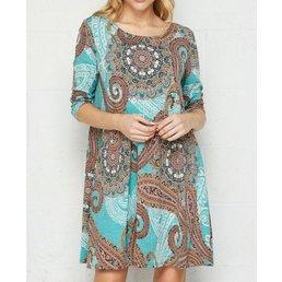 3/4 Sleeve Venezia Print Dress