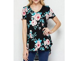 Short Sleeve Floral Top W/ Hi-Lo Hem