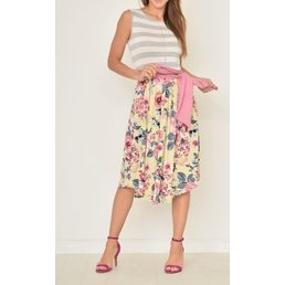 Floral Midi Dress W/ Sash
