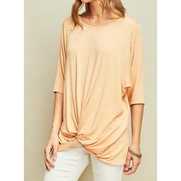 Round Neck Tunic W/ Gathered Knot Detail On The Front Hem