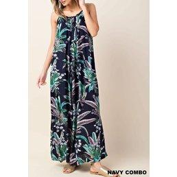 Lace Neck Printed Maxi Slip Dress