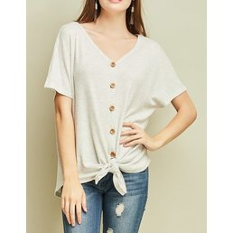 Short Sleeve V Neck Button Up Top